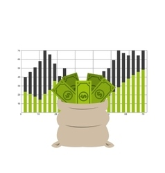 bag money with statistics isolated icon design vector image