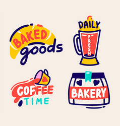baked goods daily fresh coffee time and bakery vector image