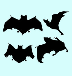bat animal flying silhouette vector image