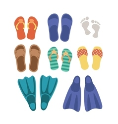 Beach footwear set isolated on white background vector image