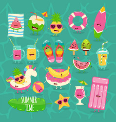 Beach funny set summer time vector
