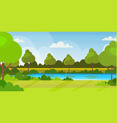 beautiful scenery in nature river with trees vector image