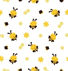 Bees seamless background vector image