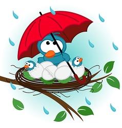 bird under umbrella in nest vector image