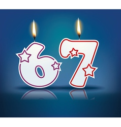 Birthday candle number 67 vector