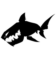 black graphic silhouette shark with sharp teeth vector image