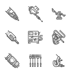 Black line icons for tattoo equipment vector image