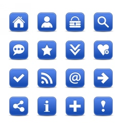 Blue satin icon web button with white basic sign vector image