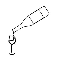 Bottle wine pouring glass cup line image vector