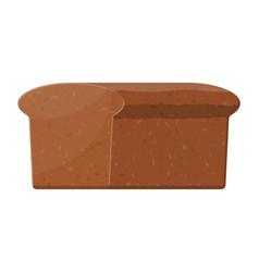 Brown bread loaf rye bread roll baked food vector
