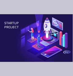 business startup landing page or banner design vector image