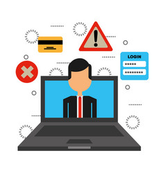 businessman in laptop computer and set icons vector image
