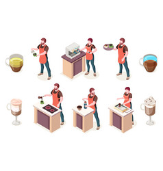 cafe and coffee shop barista isometric icons vector image