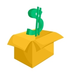 Cardboard box with green dollar sign icon vector