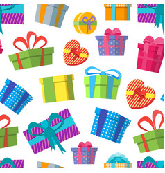 cartoon color gift boxes background pattern on a vector image