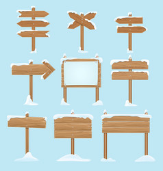 Cartoon wooden signs with snow christmas winter vector