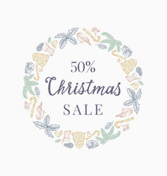 christmas sale discount hand drawn sketch wreath vector image
