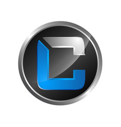 circle black blue colour letter c logo icon vector image