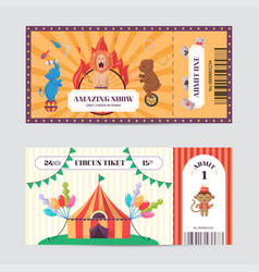Circus ticket design template amazing show with vector