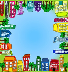 Cityscape square tile with grass and sky vector image