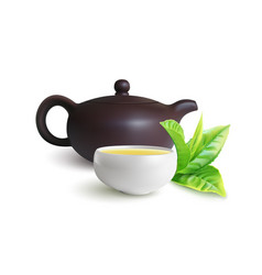 Clay teapot and teacup for chinese tea ceremony vector