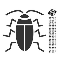 Cockroach icon with men bonus vector