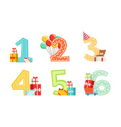 cute anniversary numbers with gift boxes vector image