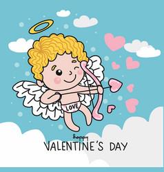 cute cupid with arrow heart on sky cartoon vector image