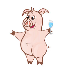 cute pink pig with a glass of champagne vector image