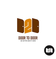 Door to door distribution logo concept Silhouette vector image