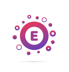 dots and letter e logo in circle abstract logo vector image