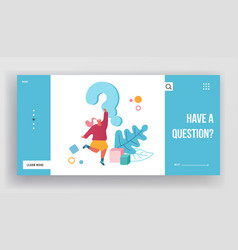 Doubts and confusion website landing page female vector