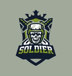Emblem badge logotype military skull helmet vector