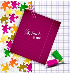 Exercise book and notes for text School time vector image