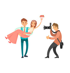 Family photographer making photos married couple vector