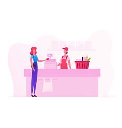 Female customer character with goods in shopping vector