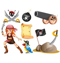 Female pirate and other symbols vector image