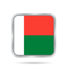 Flag of madagascar metallic gray square button vector