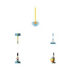 Flat icon broomstick set of broomstick mop besom vector