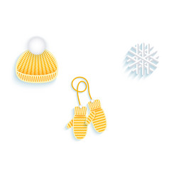 flat knitted hat mittens snowflake icon vector image