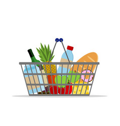 full basket with different food supermarket vector image