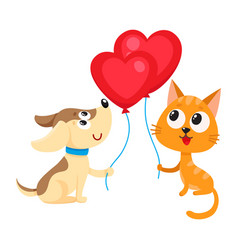 Funny dog puppy and cat kitten holding heart vector
