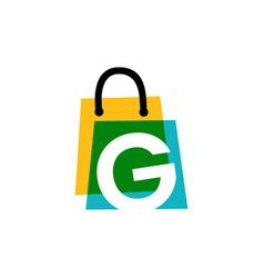 G letter shop store shopping bag overlapping vector
