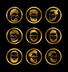 golden icons male heads hipster style haircute vector image