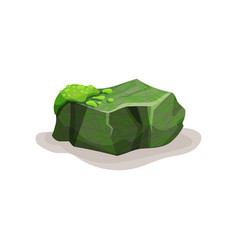 Green rock stone boulder with moss design vector