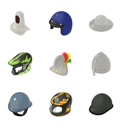 Head protection icons set isometric style vector