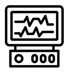 Heart monitor icon outline style vector