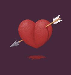 heart pierced an arrow - pixel art vector image
