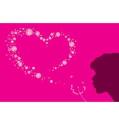 Heart shape dandelion fluff vector