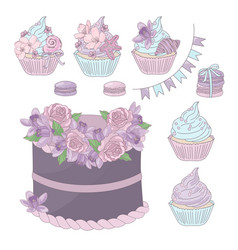 Holiday sweets floral birthday dessert illu vector